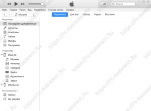 основное интерфейсное окно itunes от apple